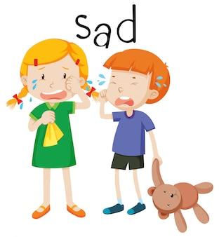 2つの子供の悲しい感情