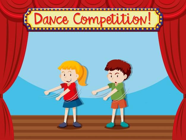 ステージダンスで2人の子供たち