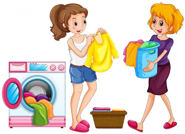 洗濯をしている2人の女性