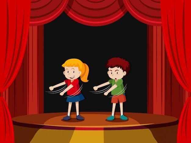 ステージ上に2人の子供