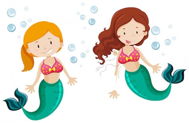 水中を泳ぐ2つのかわいい人魚
