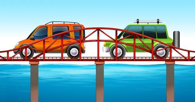 橋の上の2台の車