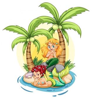 2人魚のいる島