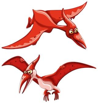 2つの赤い飛行恐竜