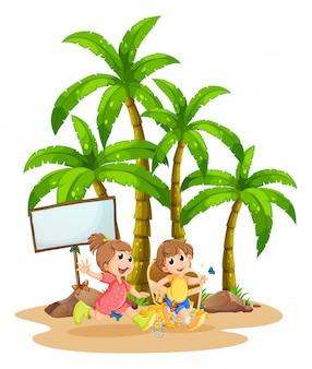 空の看板の近くで遊ぶ2人の子供
