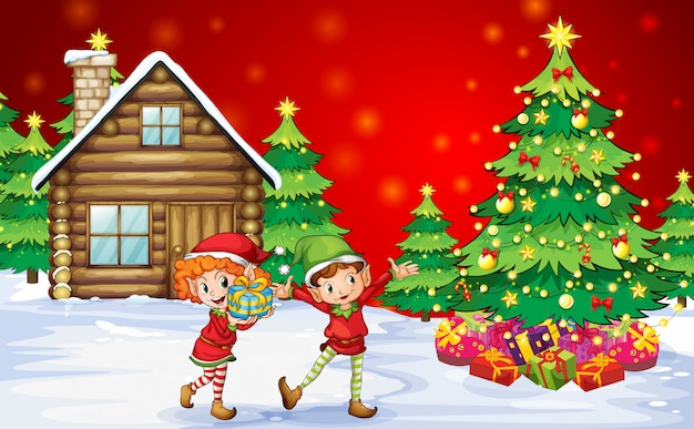 クリスマスツリーの近くの2つの遊び心のあるドワーフ
