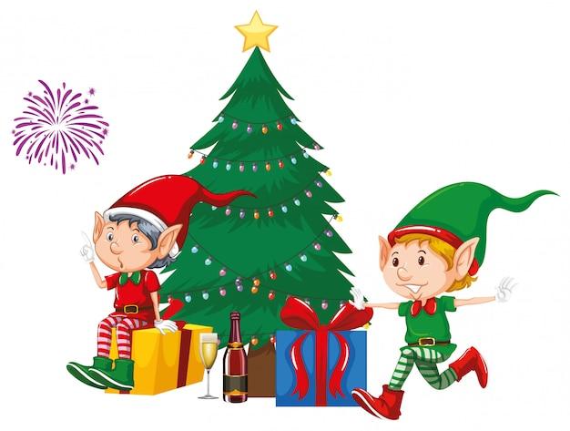 クリスマスツリーのそばの2つのエルフとプレゼント