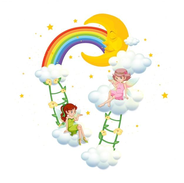 白の雲の上の2つの妖精