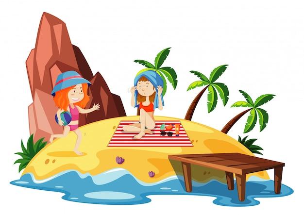 島の2人の女の子と海のシーン