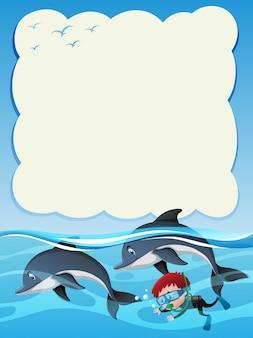 2つのイルカでダイビングするボーイのボーダーテンプレート
