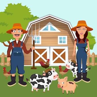 農場で動物を持つ2人の農家