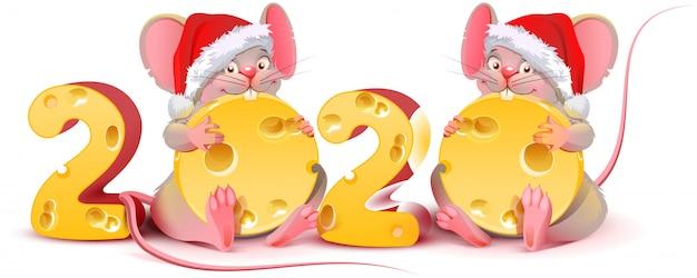 2匹の双子のマウスがチーズを保持している