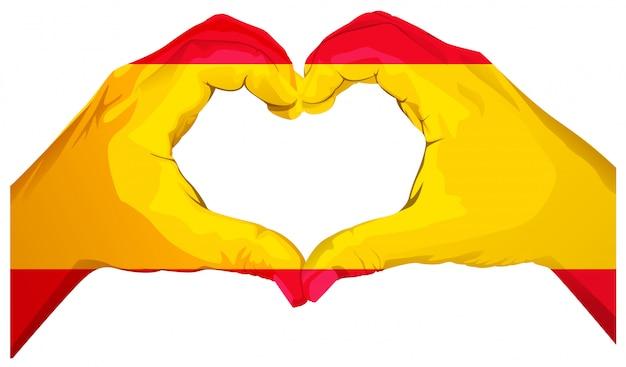 2つの手のひらがハートを形作ります。スペイン国旗