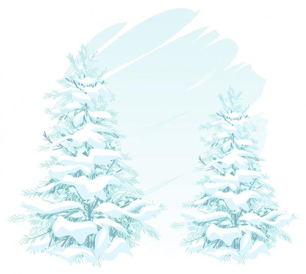 雪の中で2つのクリスマスツリー