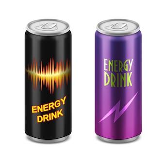 エネルギードリンクの2つのアルミ缶。
