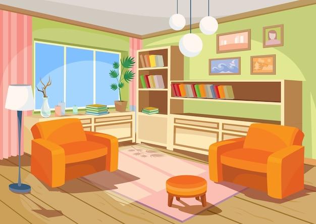 オレンジの家の部屋の漫画のインテリアのベクトル図、2つの柔らかいアームチェアとリビングルーム