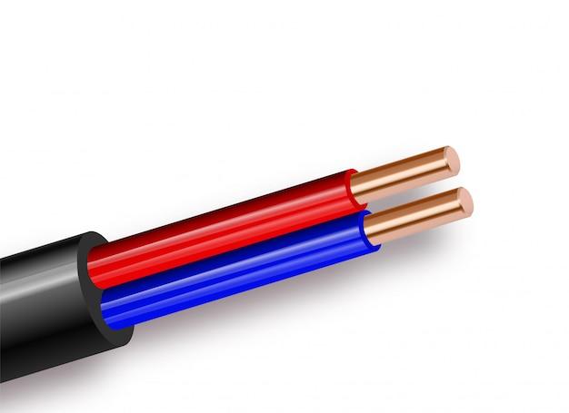 白い背景に分離された柔軟な2線電気銅ケーブル。ダブルカラー絶縁の銅多芯ケーブル。断面の拡大図。電源ワイヤー。図