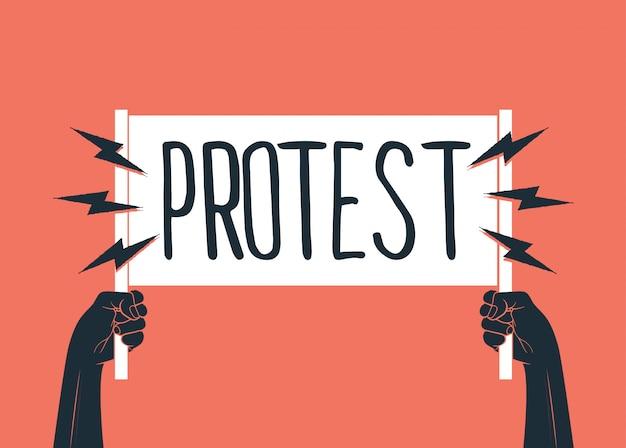 2つの黒い上げられた手のシルエットに抗議のキャプションが付いた白いプラカードを保持しています。