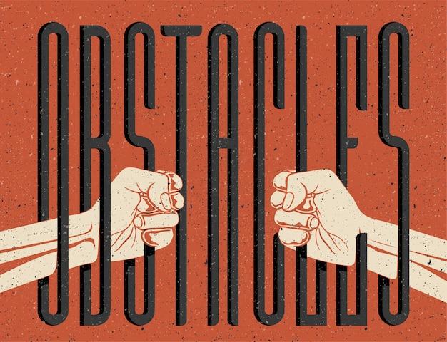 障害物の概念図。バーの後ろのような障害物の単語を保持している2つの手のシルエット。自由の概念の制限。ビンテージスタイルのイラスト。