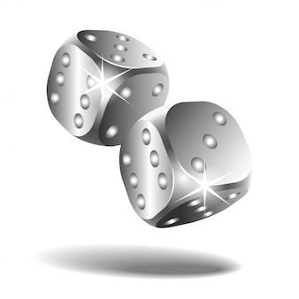 白で隔離される2つの銀の落下サイコロ
