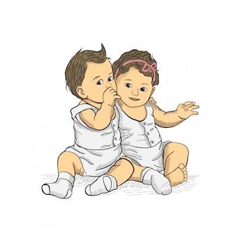 2つの赤ちゃんに座って手描き