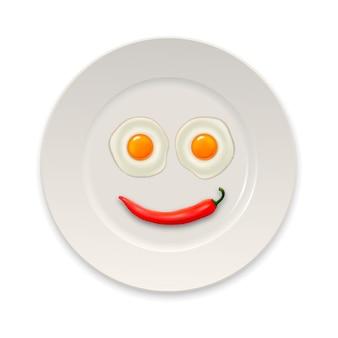 絵文字の形で配置された2つの現実的な目玉焼きと赤唐辛子