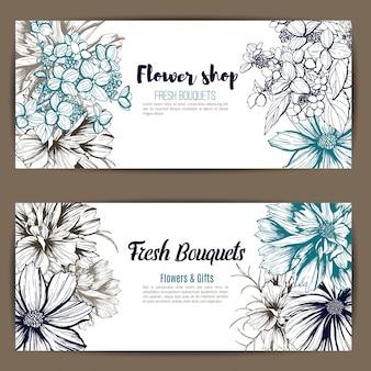 2つのバナーのセット、手描き植物のベクトル図、アジサイ、コスメアの花。