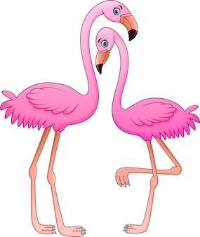 白い背景の上の漫画2つのピンクのフラミンゴ