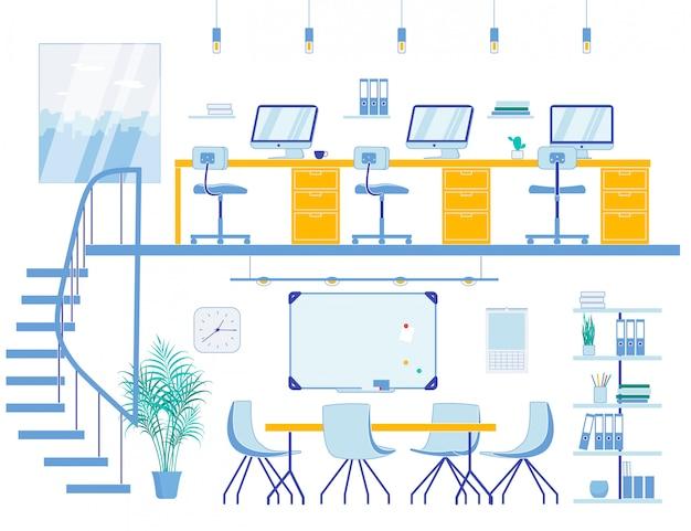 2つのレベルのコワーキングスペースと会議室