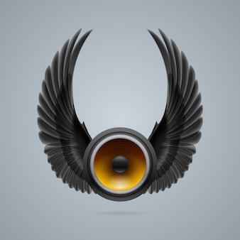 2つの翼を持つ音楽スピーカー