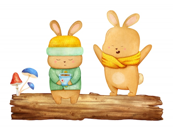 木の上の2つの小さな幸せなノウサギ