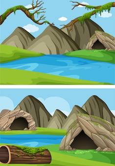 山と川の2つの背景シーン