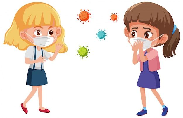 いくつかのコロナウイルスアイコンと立っている位置にマスクを着ている2人の女の子