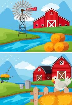 川沿いの農場の2つのシーン