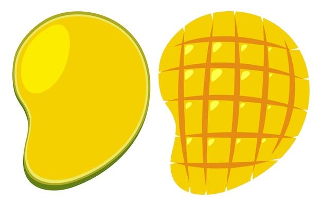 2つの異なるカットで黄色いマンゴー