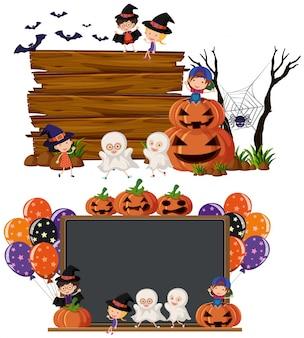 ハロウィンの衣装で子供たちと2つの空のボード