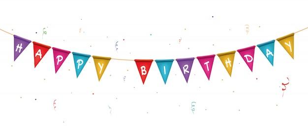 お誕生日おめでとうテキストと2つの三角形の旗の花輪。ハッピーホリデーカード。