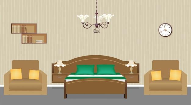 壁にアームチェア2脚、ベッド、時計、本棚を備えたベッドルームのインテリア。国内の部屋のデザイン。