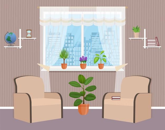 2つのアームチェア、観葉植物、窓付きのリビングルームのインテリアデザイン。
