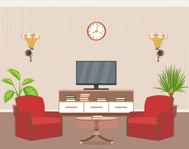 2つのアームチェア、テレビ、観葉植物を備えたリビングルームのインテリアデザイン。