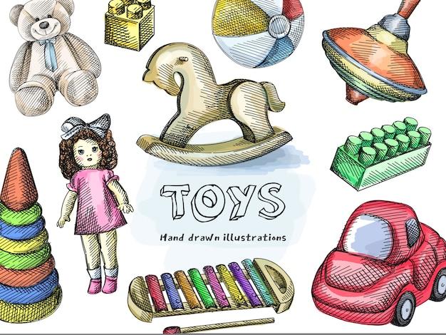 おもちゃのカラフルなセット。スピニングトップ、ロッキングホース、小さなインフレータブル2色のビーチボール、コンストラクターピース、ヴィンテージ人形、木琴、おもちゃの車、スタッキングレインボーピラミッド、テディベア。カラフルなおもちゃ