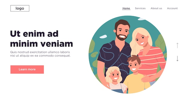 幸せな若い親と2人の子供が一緒に立っているランディングページ
