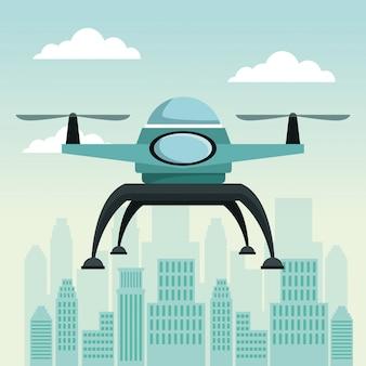 2つの飛行機飛行飛行と無人飛行機と都市風景のシーン