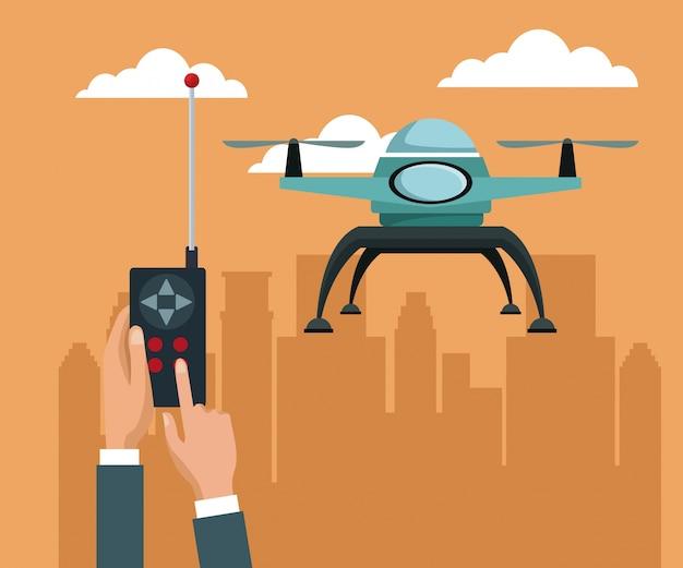 2つの飛行機飛行で青い無人機を備えたリモートコントロール
