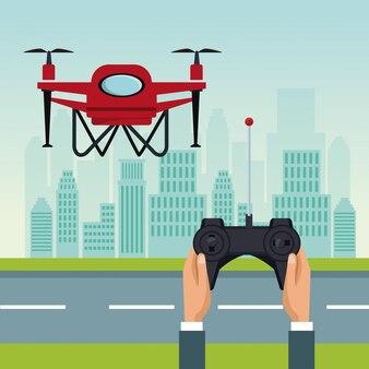 2つの飛行機が飛行する赤い無人機による遠隔操作
