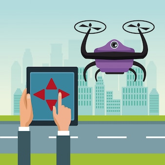 2つの飛行機飛行で紫色のロボット無人機による遠隔制御
