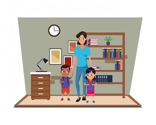 2人の子供を持つ家族のシングルマザー