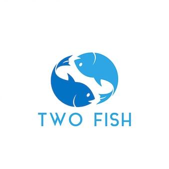 2つの魚のグラフィックデザインテンプレートのベクトル図