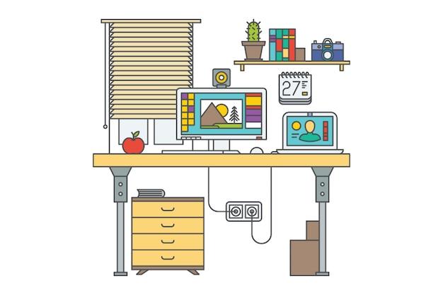職場。ホームオフィスのベクターイラストです。 2台のコンピューターを備えたデスク。閉じたウィンドウ。本棚。引き出し。ラップトップ。赤いリンゴ。