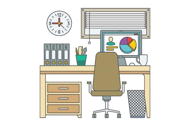 職場。ホームオフィスのベクターイラストです。 2台のコンピューターを備えたデスク。閉じたウィンドウ。本棚。時計。引き出し